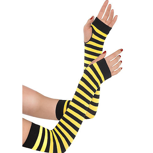 Black & Yellow Striped Arm Warmers Image #1