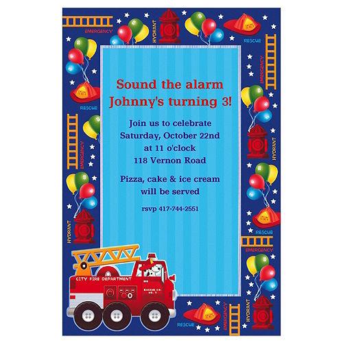 Custom Fire Engine Fun Invitations Image #1