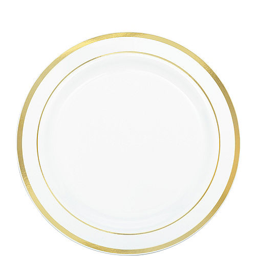 White Gold-Trimmed Premium Plastic Lunch Plates 20ct Image #1