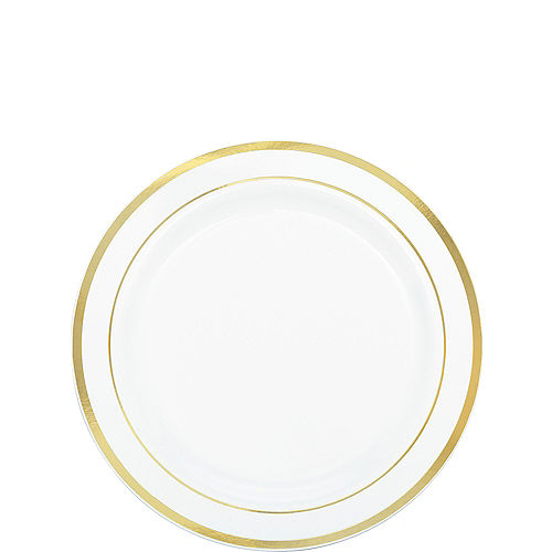 White Gold-Trimmed Premium Plastic Appetizer Plates 20ct Image #1