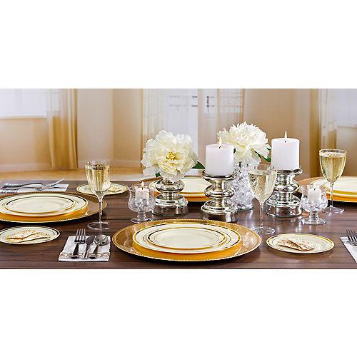 Cream Gold-Trimmed Premium Plastic Appetizer Plates 20ct Image #2