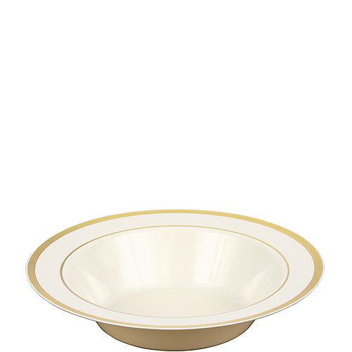 Cream Gold-Trimmed Premium Plastic Bowls 10ct Image #1