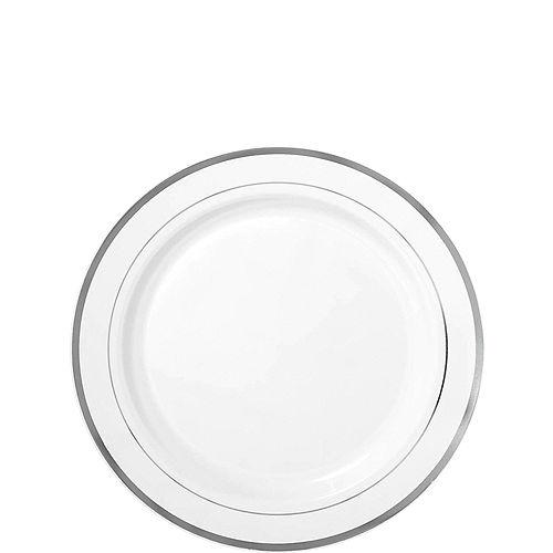 White Silver-Trimmed Premium Plastic Appetizer Plates 20ct Image #1