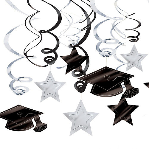 White Graduation Swirl Decorations 30ct Image #1