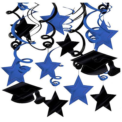 Blue Graduation Swirl Decorations 30ct Image #1