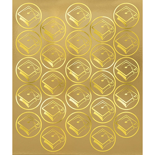 Gold Mortarboard Graduation Sticker Seals 2 Sheets Image #1