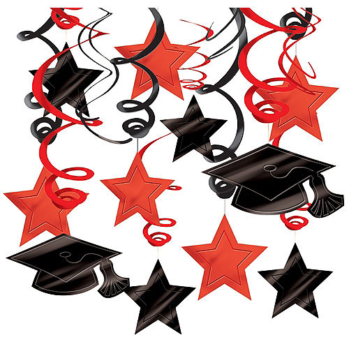 Red Graduation Swirl Decorations 30ct Image #1