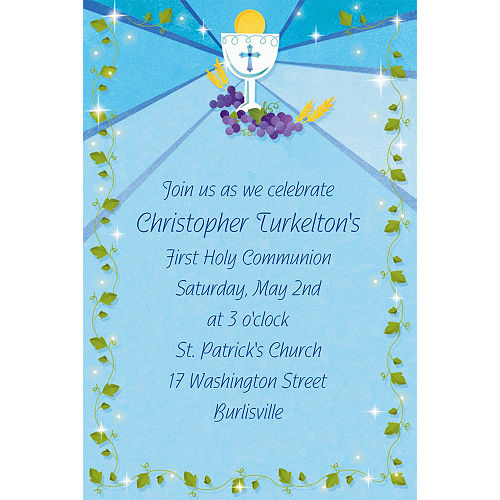 Custom Blue First Communion Invitations Image #1