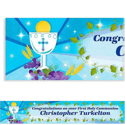 Custom Blue First Communion Banner 6ft Image #1