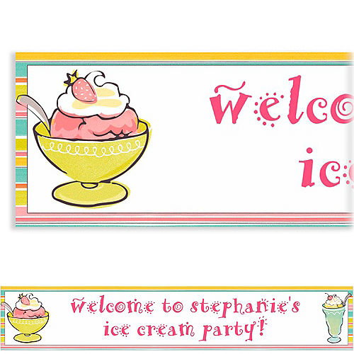 Custom Sweet Soiree Ice Cream Party Banner 6ft Image #1