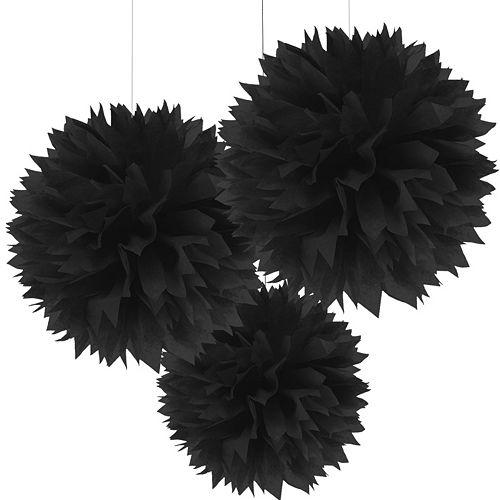 Black Tissue Pom Poms 3ct Image #1