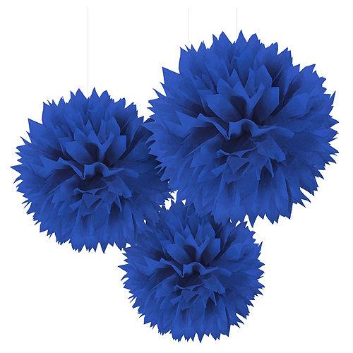 Royal Blue Tissue Pom Poms 3ct Image #1