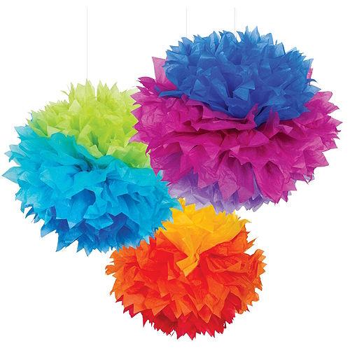 Rainbow Tissue Pom Poms 3ct Image #1