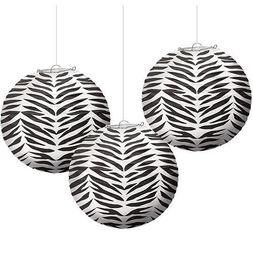 Zebra Paper Lanterns 3ct Image #1