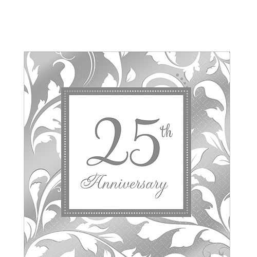 Silver 25th Anniversary Lunch Napkins 16ct Image #1
