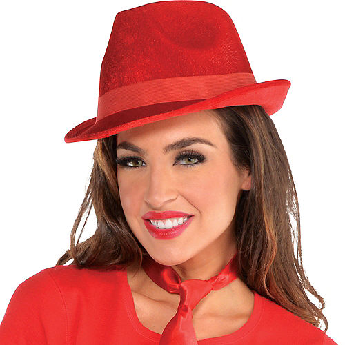 Red Suede Fedora Image #2