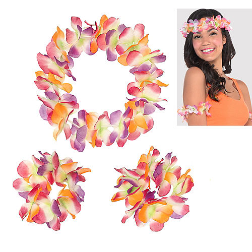 Warm Serendipity Head & Wrist Flower Lei Set 3pc Image #1