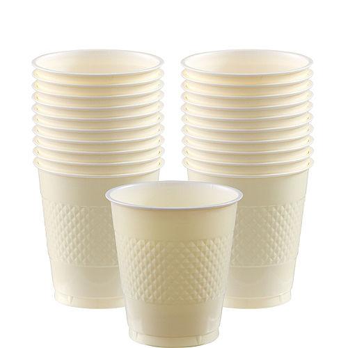 Vanilla Cream Plastic Cups 20ct Image #1