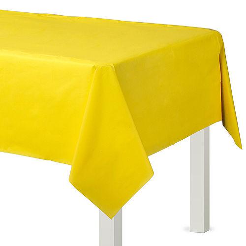 Sunshine Yellow Plastic Table Cover Image #1