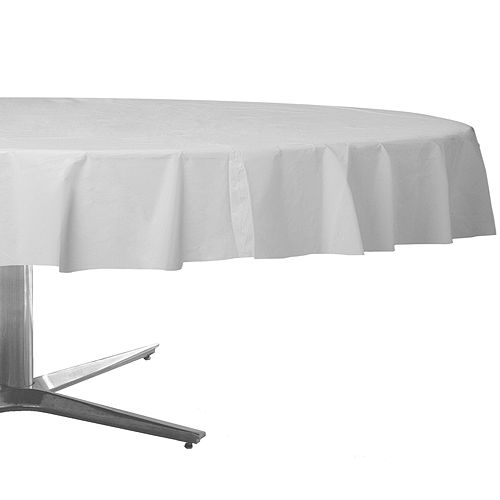 White Plastic Round Table Cover Image #1