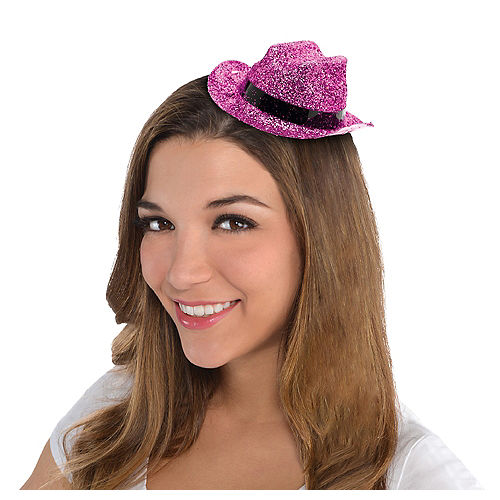 Pink Glitter Mini Cowboy Hat Image #1
