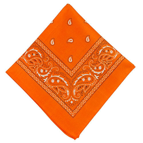Orange Paisley Bandana, 20in x 20in Image #1
