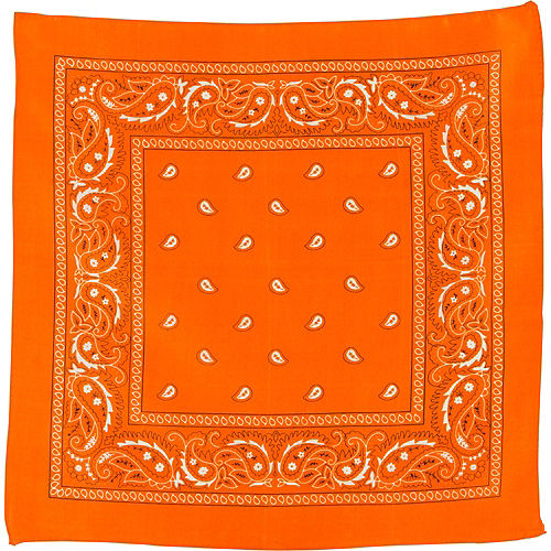 Orange Paisley Bandana, 20in x 20in Image #2