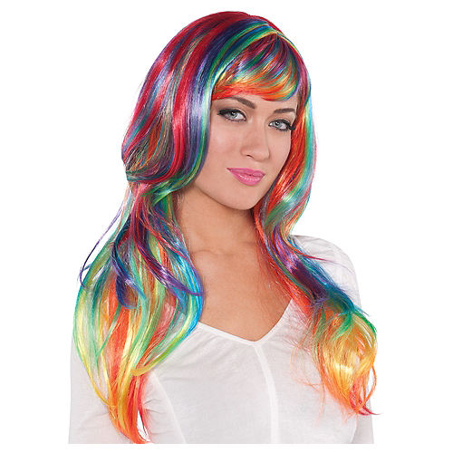 Glamorous Long Rainbow Wig Image #1