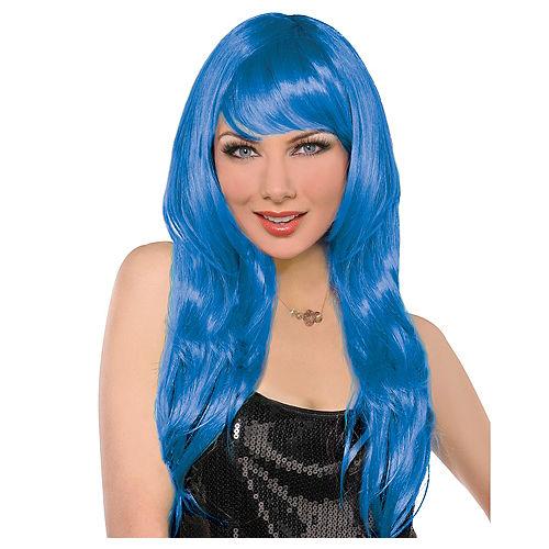 Glamorous Long Blue Wig Image #1