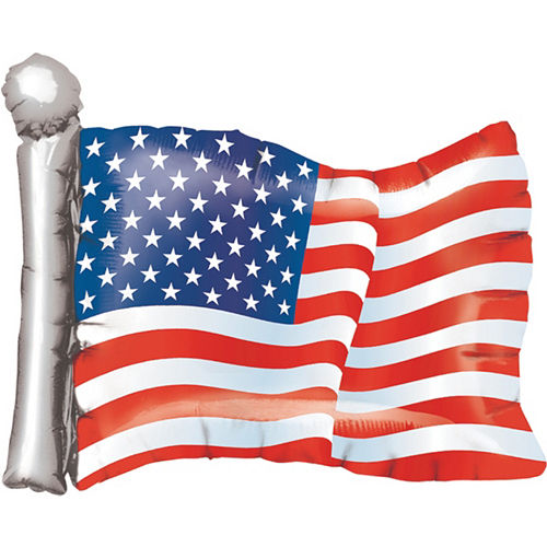 Foil American Flag Balloon, 24in Image #1
