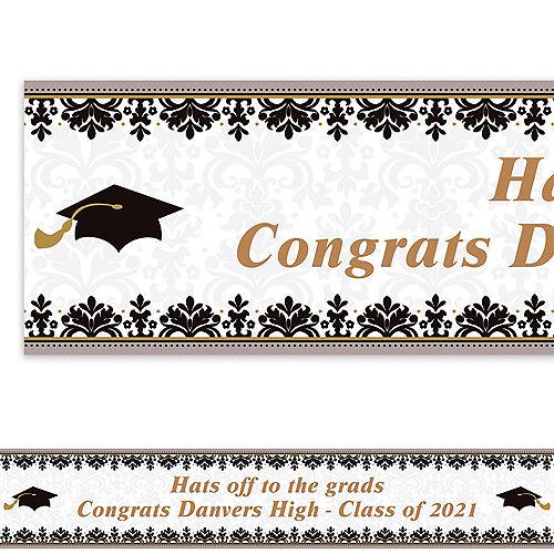 Custom Black & White Graduation Banner 6ft  Image #1