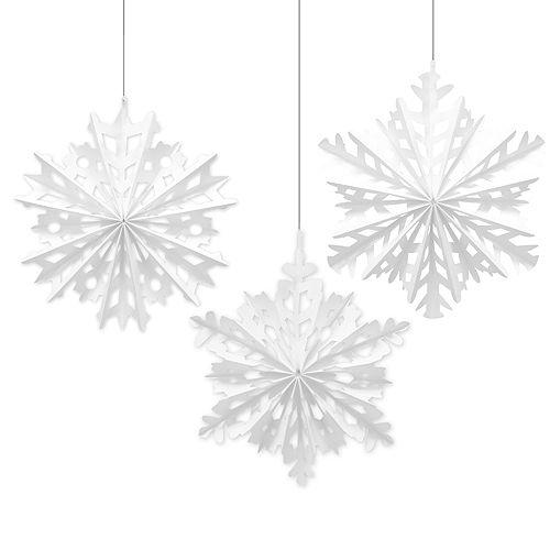 Snowflake Fan Decorations 3ct Image #1