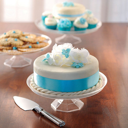 Small CLEAR Plastic Cake Stand Image #2