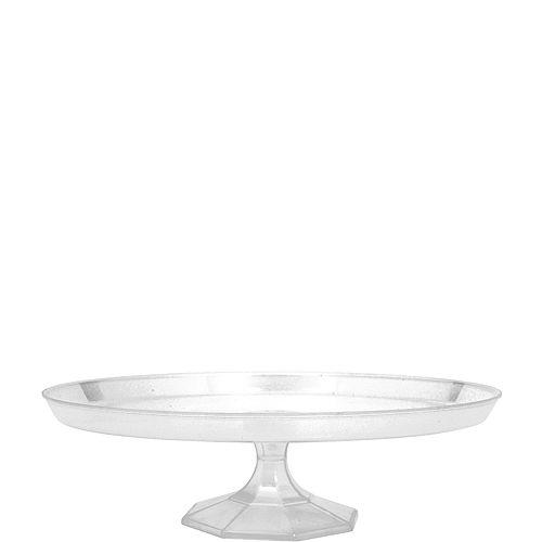 Medium CLEAR Plastic Cake Stand Image #1