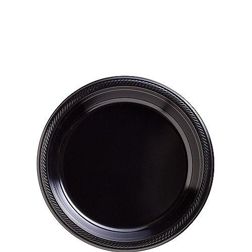 Black Plastic Dessert Plates 20ct Image #1