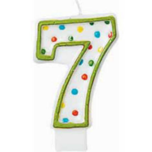 Green Outline Number 7 Birthday Candle Image #1