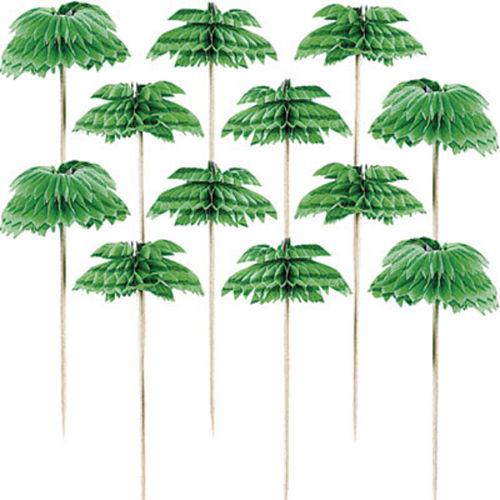 Palm Tree Honeycomb Party Picks 12ct Image #1