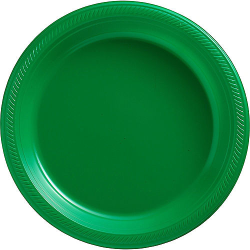 Festive Green Plastic Dinner Plates 20ct Image #1
