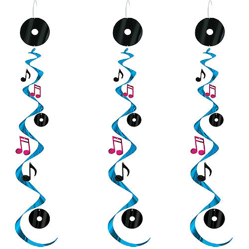 Rock 'n' Roll 50s Swirl Decorations 3ct Image #1