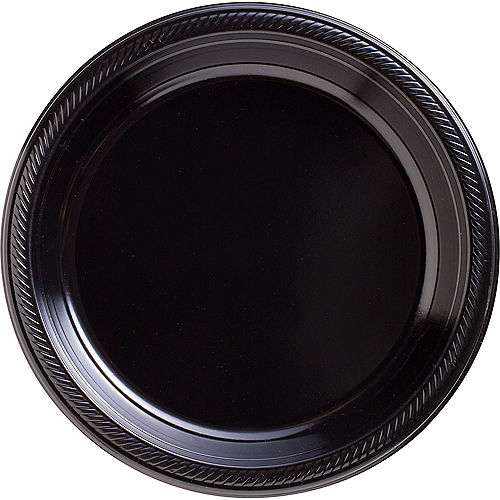 Black Plastic Dinner Plates 20ct Image #1