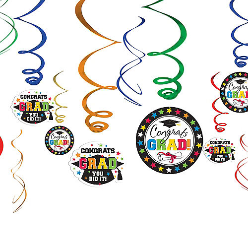 Multicolor Graduation Swirl Decorations 12ct Image #1