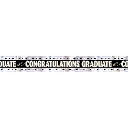 Nav Item for Black, Gold & Silver Foil Graduation Banner Image #1