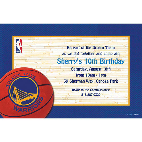 Custom Golden State Warriors Invitations Image #1