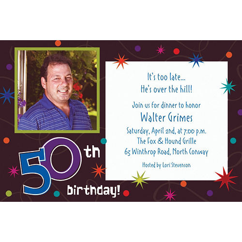 Custom The Party Continues 50th Birthday Photo Invitations Image #1