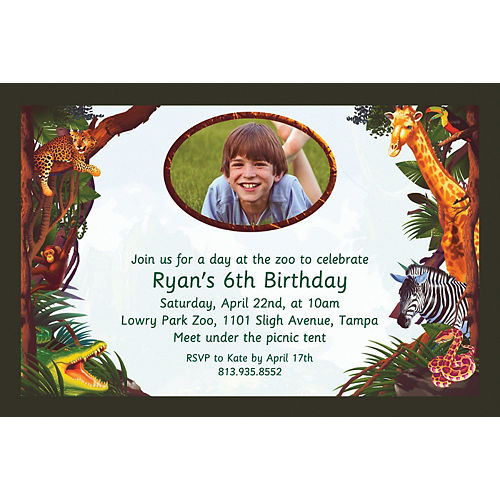 Custom Jungle Safari Photo Invitations Image #1