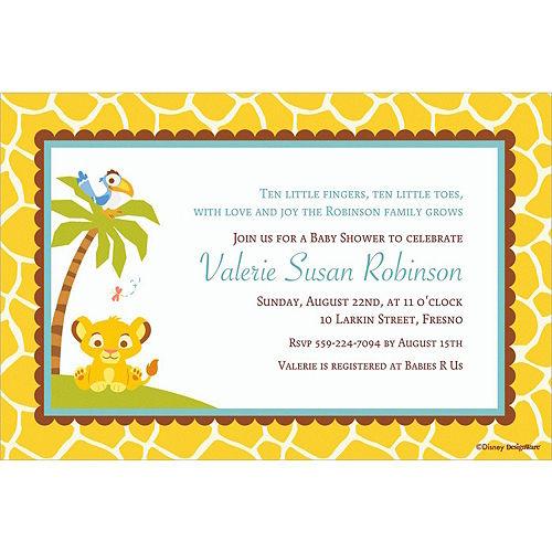 Custom Lion King Baby Shower Invitations Image #1