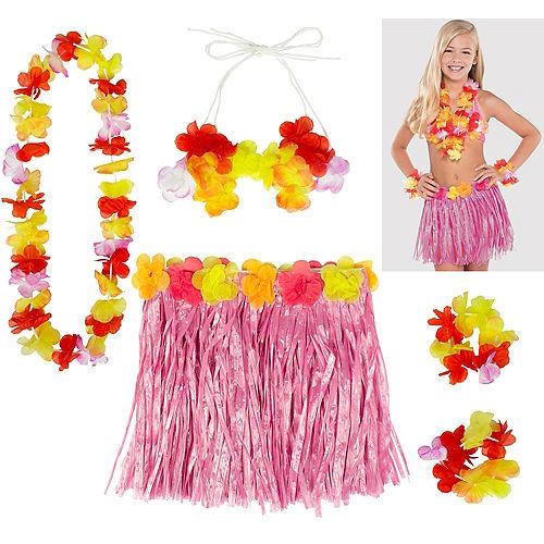 Child Pink Hula Skirt Kit 5pc Image #1