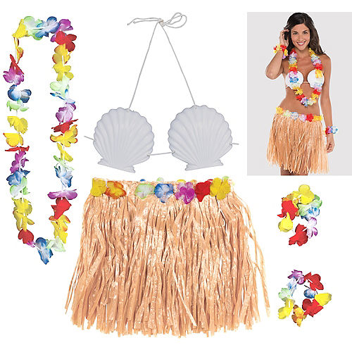 Adult Natural Hula Skirt Kit 5pc Image #1