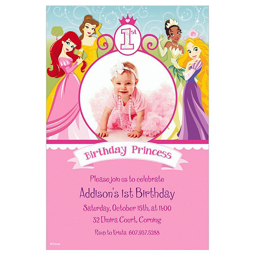 Custom Disney Princess 1st Birthday Photo Invitations Image #1