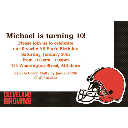 Custom Cleveland Browns Invitations Image #2